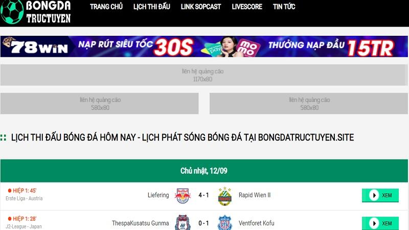 Bongdatructuyen - trang xem bóng đá trực tuyến tại Việt Nam