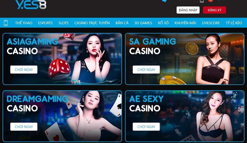 Casino trực tuyến Yes8vn có đa dạng game bài
