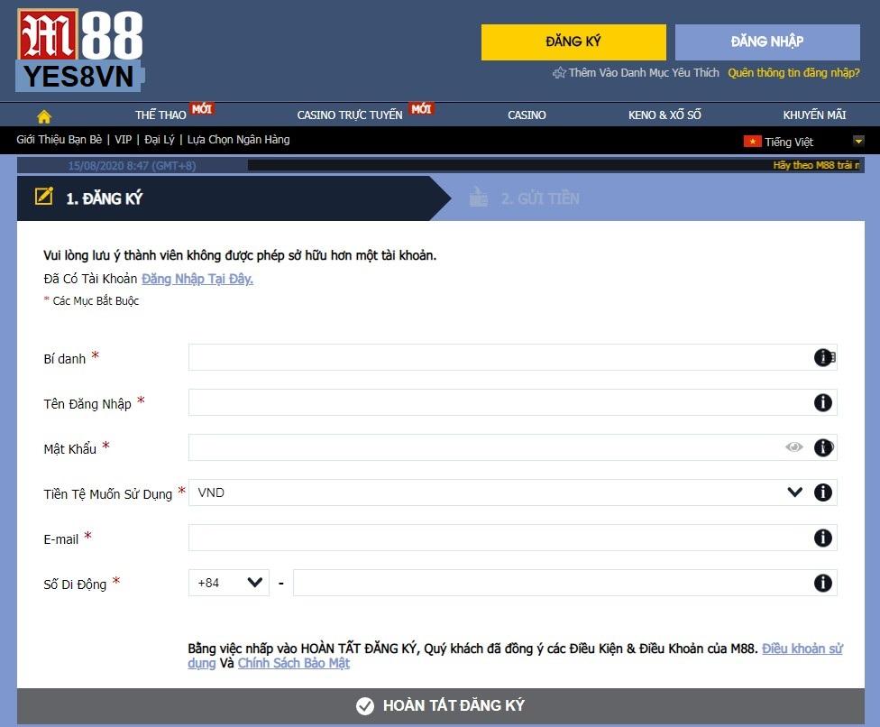 Đăng ký M88.com bằng link trực tiếp