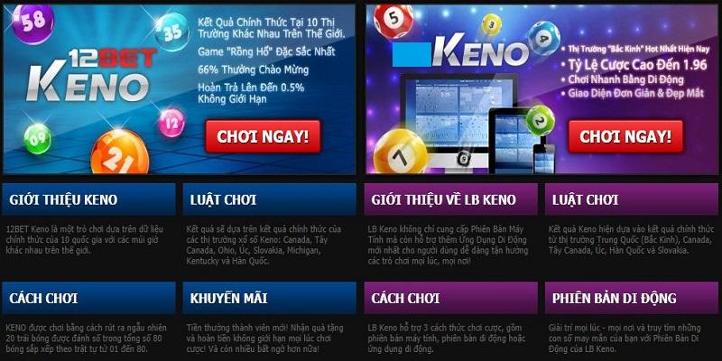 Có nhiều hình thức chơi xổ số Keno trên 12bet